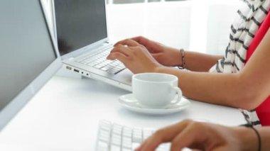 Female creative designer working on computer — Stock Video