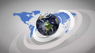 3d země na pozadí modré mapy — Stock video