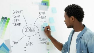 Young concentrating creative designer brainstorming — Stock Video