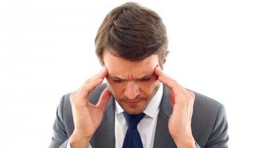 Businessman getting a headache — Stock Video