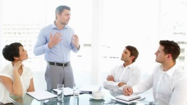 Boss storming off in anger during meeting — Stock Video