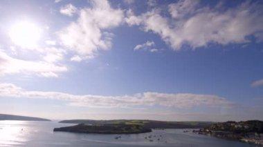 Panoramic shot of coastline to sky — Stock Video
