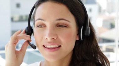 Happy female agent working — Stock Video
