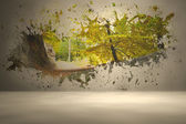 Splash on wall revealing forest trail — Stock Photo