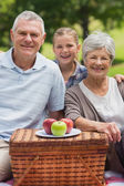 Smiling senior couple and granddaughter with picnic basket at pa — Stock Photo