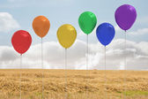 Balloons above a field — Stock Photo