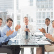 Business people clapping camerat meeting — Stock Photo #39180077