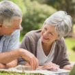 Smiling senior couple using laptop at park — Stock Photo #39180821