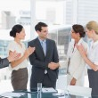 Handshake to seal a deal after a job recruitment meeting — Stock Photo