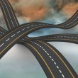 Stockfoto: Bumpy roads crossing backdrop