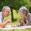 Happy senior couple playing chess at park — Stock Photo