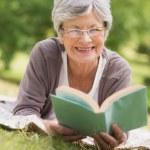 Senior woman reading a book at park — Stock Photo