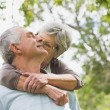 Senior woman embracing man from behind at park — Stock Photo #39182563