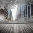 Splash on wall revealing city — Stockfoto #39184905