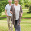 Happy senior couple walking in park — Stock Photo