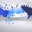 Splash showing cloud computing — Foto de Stock