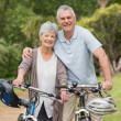 Senior couple on cycle ride at the park — Stock Photo #39185701