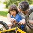 Father and son fixing bike — Stock Photo #39185795