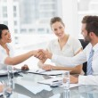 Executives shaking hands after a business meeting — Stock Photo