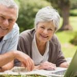 Smiling senior couple using laptop at park — Stock Photo