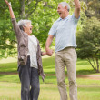 Active senior couple holding hands and jumping in park — Stock Photo