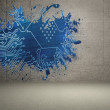 Stock Photo: Splash on wall revealing circuit board