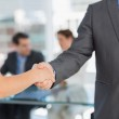 Mid section of handshake to seal a deal after meeting — Stock Photo #39188091
