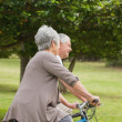 Senior couple on cycle ride in countryside — Stock Photo #39188721