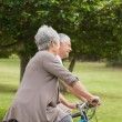 Stock Photo: Senior couple on cycle ride in countryside