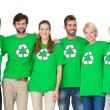 Group portrait of people wearing recycling symbol t-shirts — Stock Photo #39189675