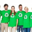 Group portrait of people wearing recycling symbol t-shirts — Stock Photo