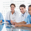 Young doctors in a meeting at hospital — Stock Photo