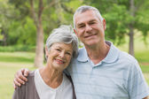 Portrait of a senior couple with arms around at park — Stock Photo