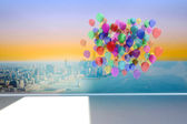 Many colourful balloons in room with city scene — Foto de Stock