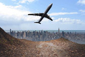 Composite image of large city on the horizon — Foto Stock