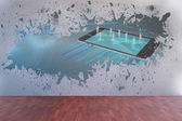 Splash on wall revealing technology interface — Foto Stock