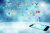 Floating smartphone application icons — Stock Photo