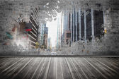 Splash on wall revealing city — Stockfoto