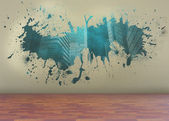 Splash on wall revealing technology graphic — Stockfoto