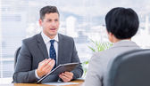 Recruiter checking the candidate during job interview — Stock Photo