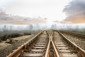 Railway tracks leading to misty forest — Stock Photo
