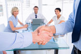 Close-up of a handshake in business meeting — Stock Photo