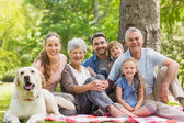 Extended family with their pet dog sitting at park — Photo