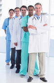 Portrait of doctors in a row at hospital — Stock Photo