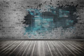 Splash on wall revealing technology interface — Stockfoto