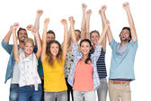 Portrait of casual cheerful people raising hands — Stock Photo