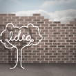 Idea tree doodle against brick wall background — Stock Photo