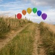 Stock Photo: Balloons above sand dunes