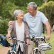 Senior couple on cycle ride at the park — Stock Photo #39191701
