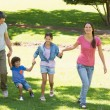 Family of four holding hands and walking at park — Stock Photo #39192765